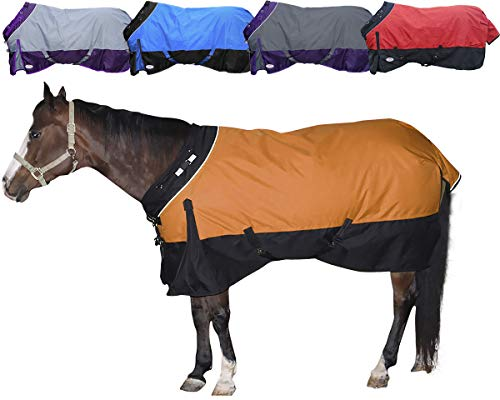 Derby Originals Windstorm Series Reflective Safety 1200D Ripstop Waterproof Nylon Horse Winter Turnout Blanket with 300g Insulation - Two Year Limited Manufacturer's Warranty, Orange/Black
