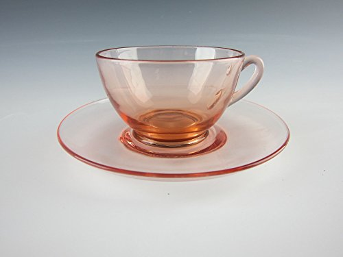 Cambridge Glass ROUND-PINK Round Handled Cup & Saucer Set(s) (Handled Depression Glass)