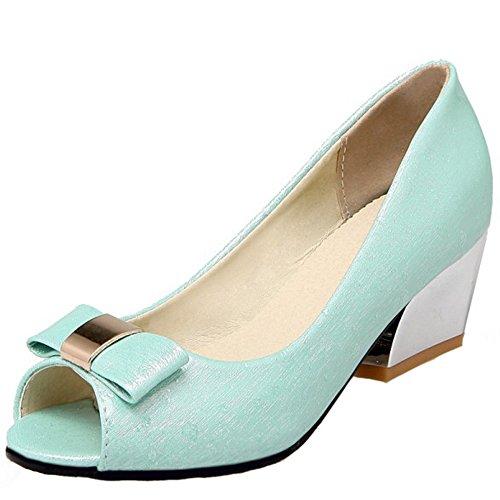 RAZAMAZA Moda Toe Peep Tacon De Ancho Mujer Sandalias Cordones Azul Sin Zapatos Medio Bowknot Tacon RRwra