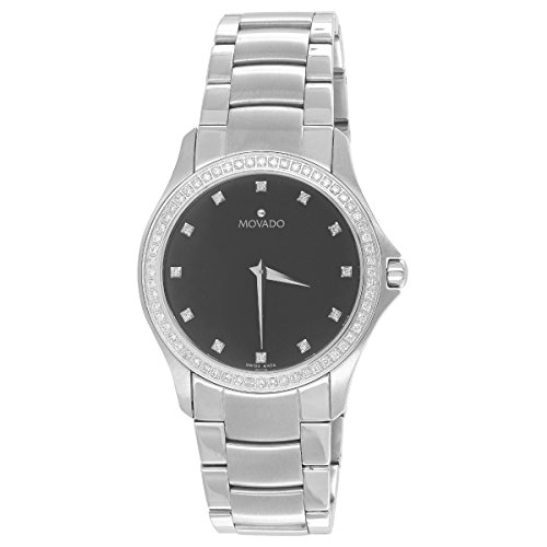 Movado Black Dial Watch Stainless Steel Silver Finish 1CT Real Diamond Analog display