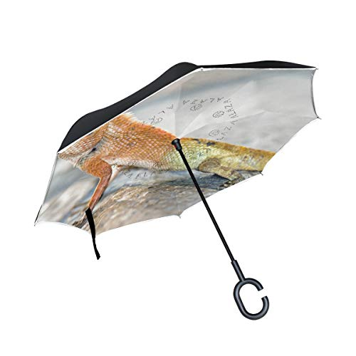 Reverse Umbrella,Garden Lizard Inverted Night Reflective Edge Golf Umbrellas,Double Layered Polyester Canopy,O-Shape Handle