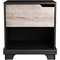 Homestar EB109183JS Waterloo 1 Drawer Nightstand, 15.91 x 20.98 x 22.52, Java Brown/Sonoma