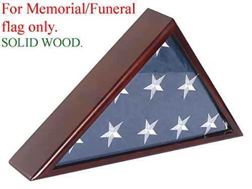 SOLID Wood Memorial Flag Case Frame Display Case for 5x9.5' Flag folded. For Funeral or Burial Flag, FC60-MAH (Memorial Flag)