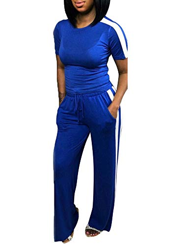 Women Jogger Suit Set Color Block Short Sleeve T-Shirts Long Pant Tracksuits Set with Side Striped Dark Blue XL