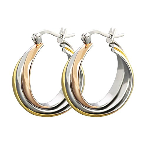 (JSEA Stainless Steel Crisscross Hoop Earrings for Sensitive Ears Women )