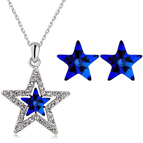 Dainty Star Pendant Necklace and Earrings for Women,Lucky Bl