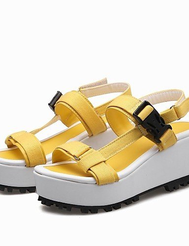 ShangYi Womens Shoes Fabric Platform Platform / Slingback / T-Strap / Creepers Sandals Outdoor / Dress Yellow / Pink / Orange Yellow