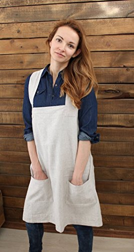 Linen Cross Over Pinafore Apron In Natural Linen Color  Us Xl Size