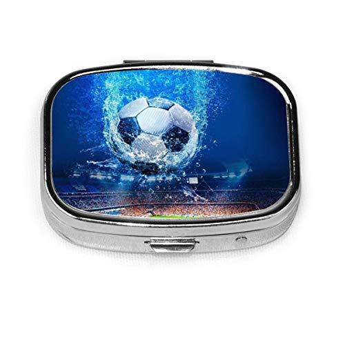 ZJZDCZA Underwater Soccer Fashion Square Pill Box Vitamin Medicine Tablet Holder Wallet Organizer Case