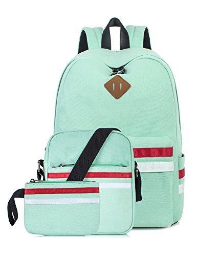 Leaper Cute Laptop Backpack School Bookbags Travel Bags Shoulder Bag Pencil Cases Water Blue 3PCS