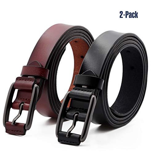- ANDY GRADE Set of 2 Women's Fashion Genuine Cowhide Leather Belt Vintage Casual Belts for Jeans Shorts Pants Summer Dress for Women with Alloy Pin Buckle (Style A)