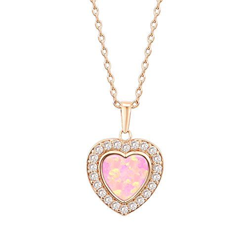 PAVOI 14K Rose Gold Plated Heart Shape Created White Opal Necklace -