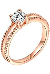 Women's Shinny Zircon Rose Gold Plated Ring Wedding Party Engagement Jewelry