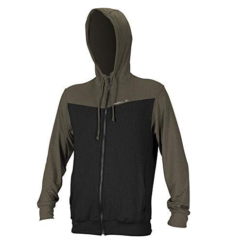 O'Neill Wetsuits Men's Hybrid UPF 50+ Long Sleeve Full Zip Sun Hoodie, Black/Khaki, X-Large