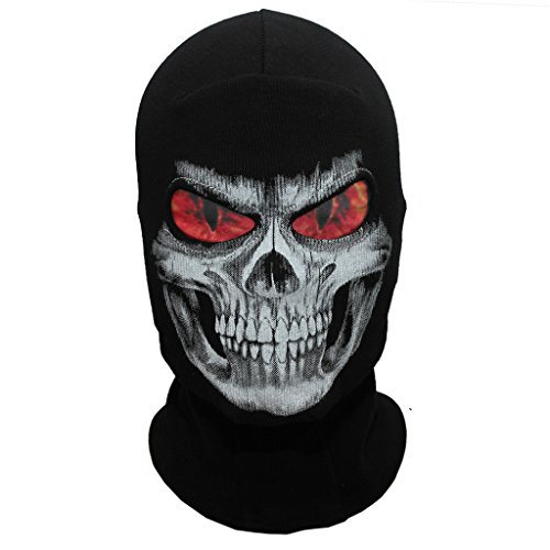 (WTACTFUL Skeleton Skull Balaclava Ghost Death Neck Warmer Face Mask - Flame Eyes - Headwear Protection for Motorcycle Cycling Skiing Snowboarding Cosplay Costume Halloween Party Winter/Summer)