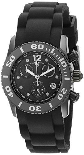 Swiss Legend Women's 10128-01-SA Commander Diamonds Analog Display Swiss Quartz Black Watch