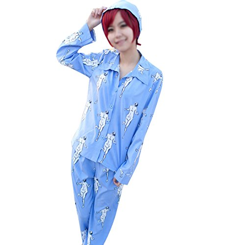 Poetic Walk Hot Anime Attack on Titan Long Sleeve Cosplay Costume Pajamas Sleepwear Suit (Small, Blue Suit)