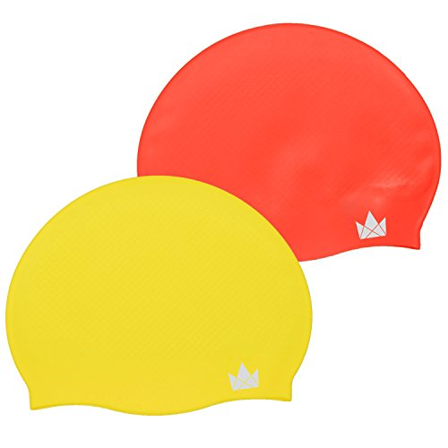 The Friendly Swede Silicone Swim Caps (2 Pack) (Yellow + Red)