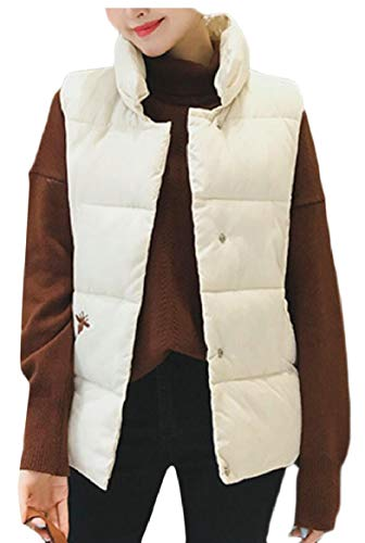 Solid Stand security Women's Collar Winter Overcoat White Jacket Down Vest Ypw465wqx