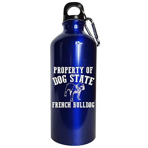 Property Of Dog State French Bulldog - Water Bottle Metallic Blue