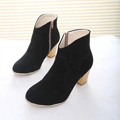 Negro Boots de Manadlian Botas mujer Botines alto Botas Martin Zapatos Botas tacón de cortas RUPwxx1WqO