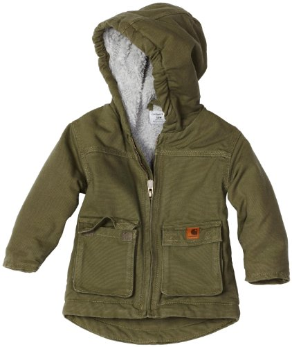 Carhartt Baby-boys Infant Jackson Coat Sherpa Lined, Ivy Green, 6 Months