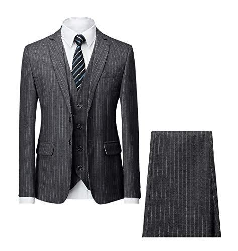 (MAGE MALE Men's Pinstripe Suit Slim Fit 3 Piece Two-Button Business Wedding Party Blazer Vest& Pants Sets )