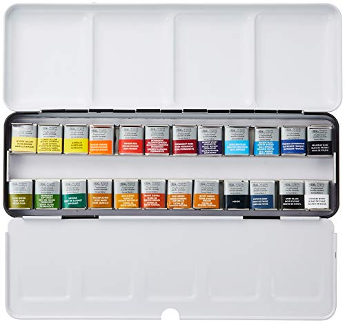 Winsor & Newton : Professional Watercolour : Lightweight Metal Sketchers Box Set : 24 Half Pans (24 Colors -
