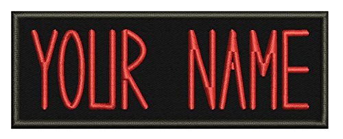 Lanstang Personalized Custom Ghostbusters Name TAG Embroidered Patches/Hook Fastener/Iron on / 1.75Hx5W (Hook Fastener, RED)