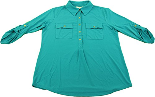 Ellen Tracy Company Ladies Size S Roll-Tab Blouse Peacock