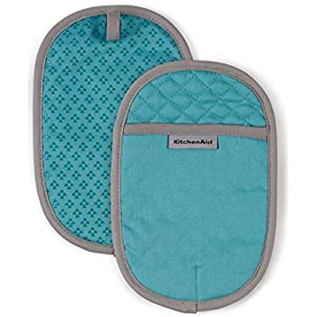KitchenAid Asteroid Cotton Pot Holders with Silicone Grip, Set of 2, Aqua