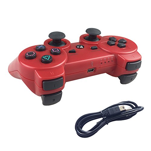 Ps3 Red Wireless Controller - Deloke Wireless Bluetooth Controller For PS3 Double Shock - Bundled with USB charge cord (Red)