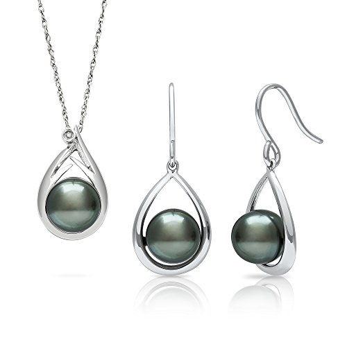 Tahitian Black Pearl Diamond Pendant and Drop Dangle Earring Set in Sterling Silver, 18""