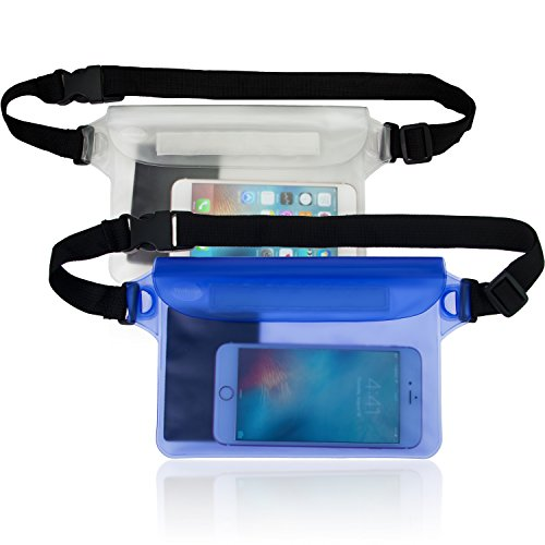 Waterproof Pouch 2 Pack with Waist Strap, Pefect for Boating,