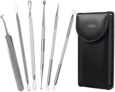 Blackhead Remover Curved Blackhead Tweezers Kit, Anjou 6-in-1 Professional Stainless Pimple Comedone Extractor Tools Set