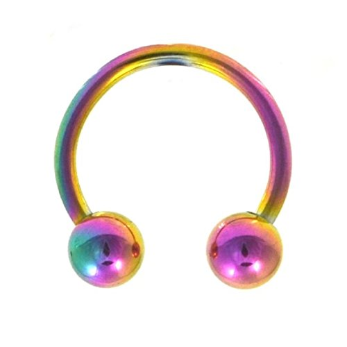 Barbell Titanium Circular Anodized ((1 piece) 16g RAINBOW Anodized Titanium Horseshoe Circular Barbell (10mm diameter))