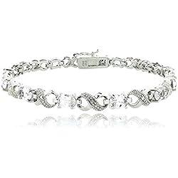 Silver Tone 6.6ct TGW White Topaz & Diamond Accent Infinity Bracelet