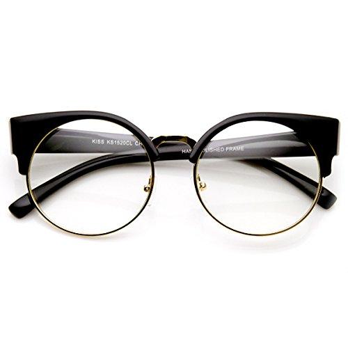 [zeroUV - Womens Half Frame Semi-Rimless Clear Lens Cat eye Round Glasses (Black-Gold)] (Clear Cat Eye Glasses)