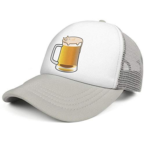 Funny Beer Foam Cat Unisex Adjustable Hats Snapback Hat Vintage Snapbacks Grey