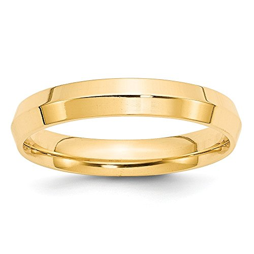 14k Yellow Gold 4mm Knife Edge Comfort Fit Wedding Band Size (Gold Wedding Band Knife Edge)