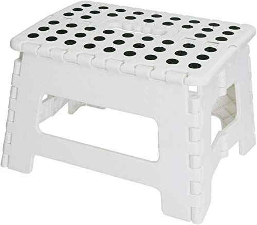 Utopia Home Foldable Step Stool for Kids - 11 Inches Wide and 9 Inches Tall - White and Black - Holds Up to 300 lbs - Lightweight Plastic ()