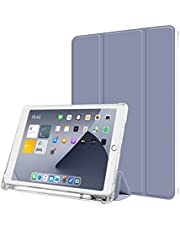 Aoub Case for iPad 8th/7th Generation 10.2 inch, Trifold Stand Auto Sleep/Wake Slim Smart Cover Frosted Translucent Soft TPU Shockproof Case with Pencil Holder for iPad 10.2 2019/2020, Purple