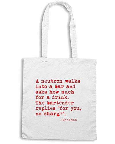 T-Shirtshock - Bolsa para la compra OLDENG00004 a neutron walks into a bar Blanco