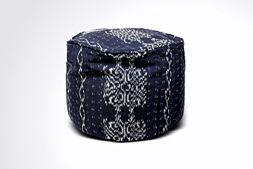 Round Ikat Pouf Ottoman, Black and White. Ethnic, Boho Pouf, Floor Cushion. Handwoven in Indonesia. 20''W x 13.5''H by Kasih Coop