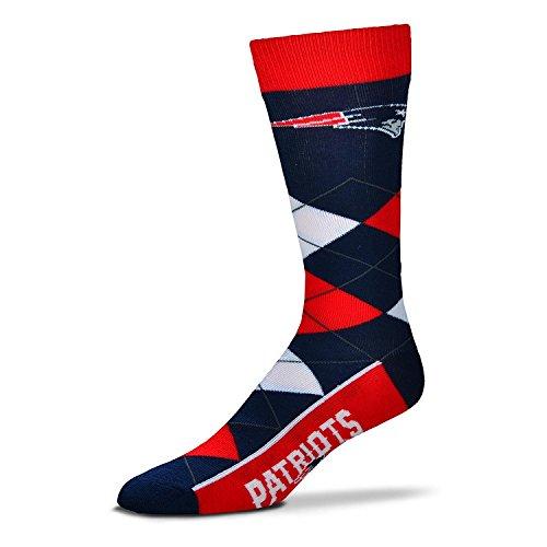 For Bare Feet NFL New England Patriots 505-7 Argyle Crew Socks - Large 3b69f5b96