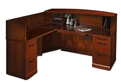 Mayline Sorrento Left L-Shaped Reception Desk-Bourbon Cherry - Bourbon Cherry