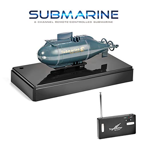 Jujuism Mini Remote Control Nuclear Submarine RC Race Boat Ship High Speed Waterproof Diving in Pools Lake Ponds, Best Gift for Kids Boys(Blue) (Miniature Submarine Toy)