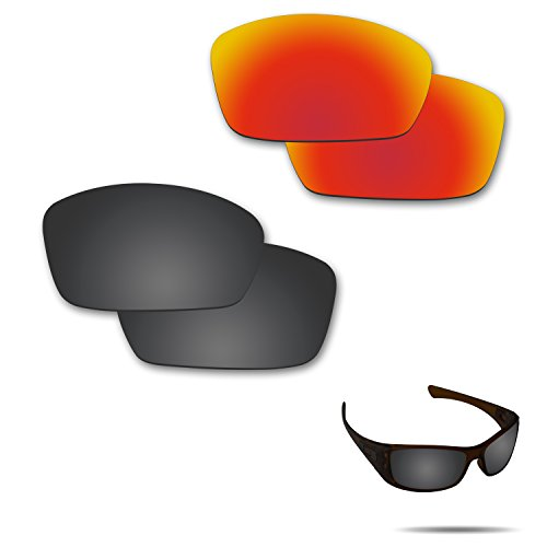 Fiskr Anti-Saltwater Polarized Replacement Lenses for Oakley Hijinx Sunglasses 2 Pairs ()