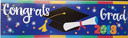 2018 Graduation Party Decorations Bundle: Accessories Include Congrats 2018 Grad Party Banner, Table Centerpiece, Cutouts, and a Beachball in a Confetti Design by TLP Party (Image #1)