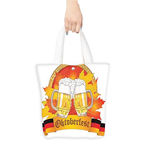 (Printed Fashion bags Beer Glass Autumn Leav F tive P Cheers ful Yellow Red Suitable for any occasion W16.5 x H14 x D7 INCH )
